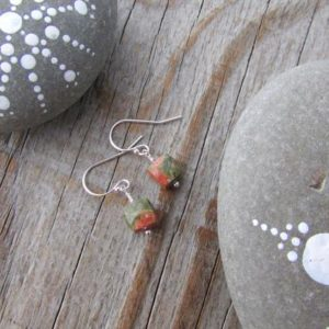 Shop Unakite Earrings! Unakite Earrings, small, simple, faceted cubes of unakite, green and pink, gemstone earrings | Natural genuine Unakite earrings. Buy crystal jewelry, handmade handcrafted artisan jewelry for women.  Unique handmade gift ideas. #jewelry #beadedearrings #beadedjewelry #gift #shopping #handmadejewelry #fashion #style #product #earrings #affiliate #ad
