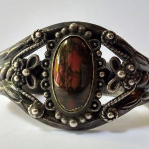 Shop Petrified Wood Bracelets! VINTAGE NAVAJO Indian elaborate silver petrified wood agate cuff BRACELET   Natural genuine Petrified Wood bracelets. Buy crystal jewelry, handmade handcrafted artisan jewelry for women.  Unique handmade gift ideas. #jewelry #beadedbracelets #beadedjewelry #gift #shopping #handmadejewelry #fashion #style #product #bracelets #affiliate #ad