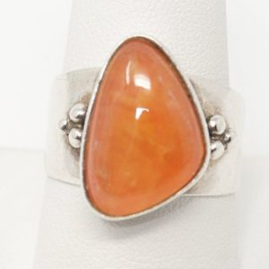 Shop Orange Calcite Jewelry! VTG Designer Desert Rose Trading Orange Gemstone Sterling Silver Ring – 10 | Natural genuine Orange Calcite jewelry. Buy crystal jewelry, handmade handcrafted artisan jewelry for women.  Unique handmade gift ideas. #jewelry #beadedjewelry #beadedjewelry #gift #shopping #handmadejewelry #fashion #style #product #jewelry #affiliate #ad