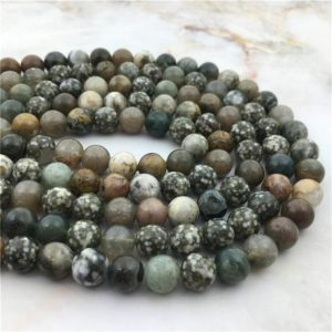 """Shop Ocean Jasper Round Beads! Wholesale Natural 15.5""""  6 8 10mm Smooth Round Ocean Jaspers Loose Beads, High Quality Raw Drilled Sediment Stone Bead For Jewelry Making 