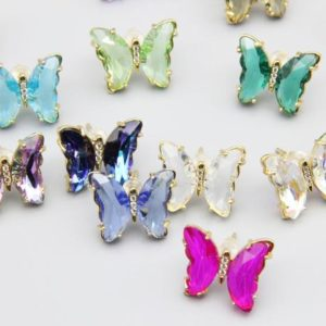 17 Colors Zircon Butterfly Earrings, hypoallergenic Earrings Available, animals Earrings, plated 18k Gold Earring, wholesale Earrings Jewelry. | Natural genuine Gemstone jewelry. Buy crystal jewelry, handmade handcrafted artisan jewelry for women.  Unique handmade gift ideas. #jewelry #beadedjewelry #beadedjewelry #gift #shopping #handmadejewelry #fashion #style #product #jewelry #affiliate #ad