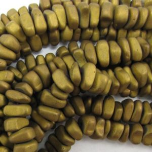 """Shop Hematite Chip & Nugget Beads! 12mm matte hematite nugget beads 16"""" strand gold 33622 