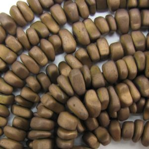 """Shop Hematite Chip & Nugget Beads! 12mm matte hematite nugget beads 16"""" strand copper 33626 