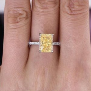 3 CT Radiant Cut Yellow Citrine Engagement Ring 14K Solid Gold Pave Setting Gemstone Ring Citrine Promise Ring For Her, Anniversary Gift | Natural genuine Array rings, simple unique alternative gemstone engagement rings. #rings #jewelry #bridal #wedding #jewelryaccessories #engagementrings #weddingideas #affiliate #ad