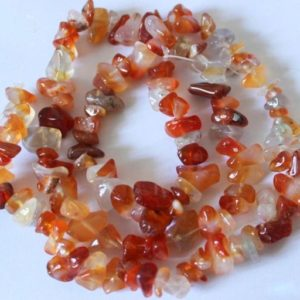 """32"""" Carnelian Agate Chip Beads , 5-8mm, 32 inch strand – Red Gemstone Beads, Jewelry Supply, Red Beads, Semi Precious Beads – #64 