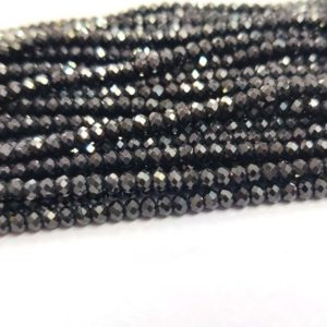 """AAA+ Natural Black Spinel Faceted Rondelle Loose Beads 3mm 13""""strand Diamond Polished 