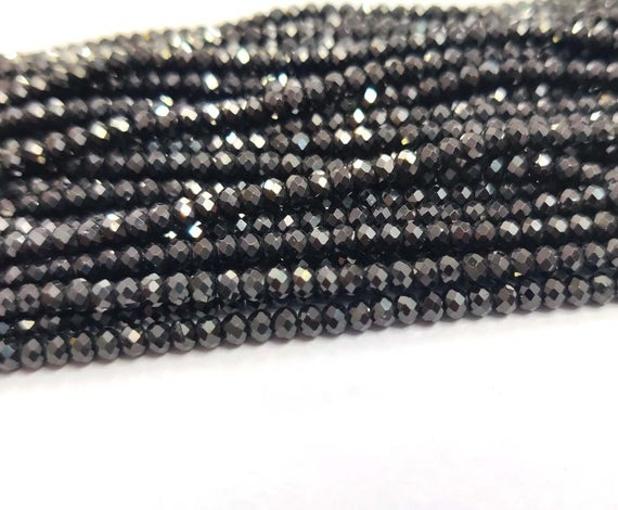 """Aaa+ Natural Black Spinel Faceted Rondelle Loose Beads 3mm 13""""strand Diamond Polished"""