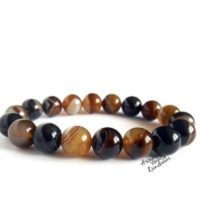 8 Mm Brown Banded Agate Gemstone Bracelet Gift For Her & Him Mens Beaded Bracelet Gift, Fathers Day Gift, Boyfriend Gift, Best Friend Gifts | Natural genuine Gemstone jewelry. Buy handcrafted artisan men's jewelry, gifts for men.  Unique handmade mens fashion accessories. #jewelry #beadedjewelry #beadedjewelry #shopping #gift #handmadejewelry #jewelry #affiliate #ad