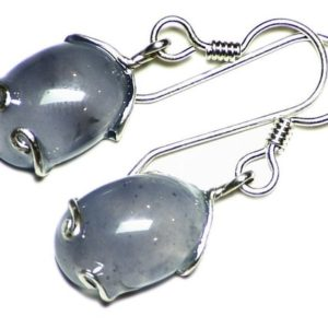 Shop Agate Earrings! Blue Agate Earrings in Sterling Silver Wire Wrap, Untreated Chalcedony Cabochon Dangle Earrings, Translucent Chalcedony Cabs, Agate Jewelry | Natural genuine Agate earrings. Buy crystal jewelry, handmade handcrafted artisan jewelry for women.  Unique handmade gift ideas. #jewelry #beadedearrings #beadedjewelry #gift #shopping #handmadejewelry #fashion #style #product #earrings #affiliate #ad
