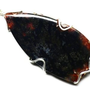 Shop Agate Necklaces! Red Agate Necklace, Texas Agate Jewelry, Woodward Ranch, Red And Black Plume Agate Cabochon, Sterling Silver Wire Wrap, From Texas Jewelry | Natural genuine Agate necklaces. Buy crystal jewelry, handmade handcrafted artisan jewelry for women.  Unique handmade gift ideas. #jewelry #beadednecklaces #beadedjewelry #gift #shopping #handmadejewelry #fashion #style #product #necklaces #affiliate #ad