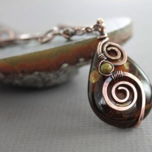 Pear shape agate pendant, Copper necklace, Brown gemstone necklace, Spiral pendant, Drop necklace, Rustic earthy necklace – NK024 | Natural genuine Agate pendants. Buy crystal jewelry, handmade handcrafted artisan jewelry for women.  Unique handmade gift ideas. #jewelry #beadedpendants #beadedjewelry #gift #shopping #handmadejewelry #fashion #style #product #pendants #affiliate #ad