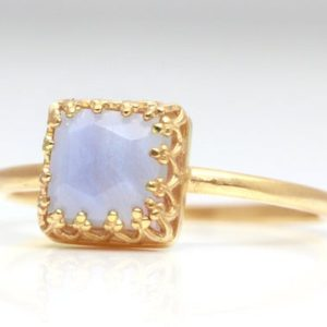 Shop Agate Rings! Lace Agate Ring, agate Rings For Women, square Ring, 14k Gemstone Rings, 3ct Gemstone Ring, natural Gemstone Ring, stack Ring   Natural genuine Agate rings, simple unique handcrafted gemstone rings. #rings #jewelry #shopping #gift #handmade #fashion #style #affiliate #ad