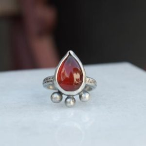 Shop Agate Rings! Red Agate Sterling Silver Ring   Natural genuine Agate rings, simple unique handcrafted gemstone rings. #rings #jewelry #shopping #gift #handmade #fashion #style #affiliate #ad
