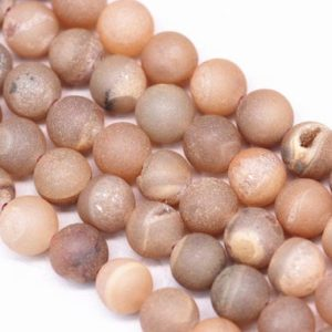 """Peach Druzy Agate Matte Round Beads 6mm 8mm 10mm 12mm 15.5"""" Strand 