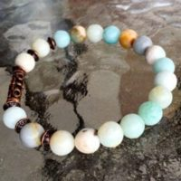 Amazonite Wrist Mala Bracelet – Sky Blue Bracelet, Amazonite Jewelry, Sky Blue Gifts, Bracelet Gift Idea For Her, Sea Blue Bracelet, Gifts | Natural genuine Gemstone jewelry. Buy crystal jewelry, handmade handcrafted artisan jewelry for women.  Unique handmade gift ideas. #jewelry #beadedjewelry #beadedjewelry #gift #shopping #handmadejewelry #fashion #style #product #jewelry #affiliate #ad