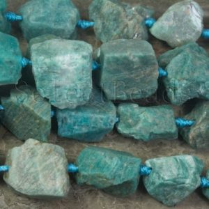 Russian Amazonite Raw Nuggets – Large Amazonite Rough Stone – Big Necklace Beads – Pale Green Gemstone Lots Wholesale -15inch | Natural genuine chip Gemstone beads for beading and jewelry making.  #jewelry #beads #beadedjewelry #diyjewelry #jewelrymaking #beadstore #beading #affiliate #ad