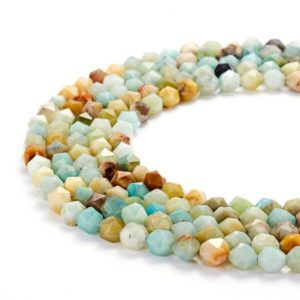 """Shop Amazonite Faceted Beads! Multi-color Amazonite Faceted Star Cut Beads 8mm 15.5"""" Strand 