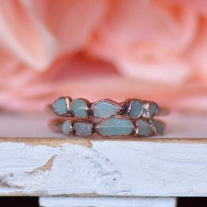 Shop Amazonite Rings! Raw Amazonite Ring, Multi Stone Ring, Raw Gemstone Ring, Unique Gift for Her, Boho Jewelry, Birthstone Ring, Eternity Ring, Stacking Ring | Natural genuine Amazonite rings, simple unique handcrafted gemstone rings. #rings #jewelry #shopping #gift #handmade #fashion #style #affiliate #ad