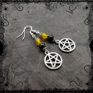 Shop Jet Earrings! Amber and lignite jet pentacle witch's earrings, Wicca, pagan, witchcraft | Natural genuine Jet earrings. Buy crystal jewelry, handmade handcrafted artisan jewelry for women.  Unique handmade gift ideas. #jewelry #beadedearrings #beadedjewelry #gift #shopping #handmadejewelry #fashion #style #product #earrings #affiliate #ad
