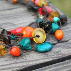 Colorful Necklace Summer Jewelry Frida Mexican Raw Gemstone Turquoise Chunky Amber Yellow Orange Blue Teal Green Brown Multistrand | Natural genuine Gemstone necklaces. Buy crystal jewelry, handmade handcrafted artisan jewelry for women.  Unique handmade gift ideas. #jewelry #beadednecklaces #beadedjewelry #gift #shopping #handmadejewelry #fashion #style #product #necklaces #affiliate #ad