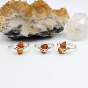 Amber Ring, Silver Wire Wrapped Ring | Natural genuine Gemstone rings, simple unique handcrafted gemstone rings. #rings #jewelry #shopping #gift #handmade #fashion #style #affiliate #ad