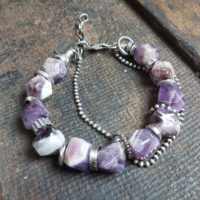 Sterling Silver Bracelet With An Amethyst • Handmade Jewelry • Oxidized Silver • Beaded Bracelet • 15% Discount | Natural genuine Gemstone jewelry. Buy crystal jewelry, handmade handcrafted artisan jewelry for women.  Unique handmade gift ideas. #jewelry #beadedjewelry #beadedjewelry #gift #shopping #handmadejewelry #fashion #style #product #jewelry #affiliate #ad