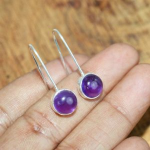 Shop Amethyst Earrings! Purple Amethyst 925 Sterling Silver Round Wire Earring ~ Gift For Her | Natural genuine Amethyst earrings. Buy crystal jewelry, handmade handcrafted artisan jewelry for women.  Unique handmade gift ideas. #jewelry #beadedearrings #beadedjewelry #gift #shopping #handmadejewelry #fashion #style #product #earrings #affiliate #ad