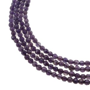 """Shop Amethyst Faceted Beads! Teeth Amethyst Faceted Round Beads Size 2mm 3mm 4mm 15.5"""" Strand 
