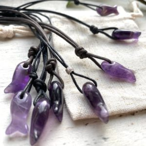 Shop Amethyst Pendants! Amethyst Fish Pendant, Fish Necklace,  Piscies Fish Gift. A Tiny Crystal On Adjustable Cord | Natural genuine Amethyst pendants. Buy crystal jewelry, handmade handcrafted artisan jewelry for women.  Unique handmade gift ideas. #jewelry #beadedpendants #beadedjewelry #gift #shopping #handmadejewelry #fashion #style #product #pendants #affiliate #ad