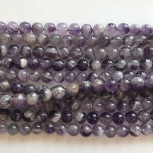 Shop Amethyst Round Beads! Natural Amethyst 8mm Round Gemstone Beads–15.5 Inch Strand | Natural genuine round Amethyst beads for beading and jewelry making.  #jewelry #beads #beadedjewelry #diyjewelry #jewelrymaking #beadstore #beading #affiliate #ad