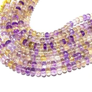 """Shop Ametrine Faceted Beads! Ametrine Rondelle Beads,Natural Ametrine Faceted Rondelle Beads,Ametrine Gemstone Rondelles,Size 8mm to 8.5mm 8"""" Inches Strand   Natural genuine faceted Ametrine beads for beading and jewelry making.  #jewelry #beads #beadedjewelry #diyjewelry #jewelrymaking #beadstore #beading #affiliate #ad"""