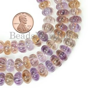 Shop Ametrine Rondelle Beads! Ametrine Melon Carved Beads, Ametrine Rondelle Beads, Ametrine Pumpkin Beads, Ametrine Gemstone Beads, Ametrine Carved Gemstone Beads | Natural genuine rondelle Ametrine beads for beading and jewelry making.  #jewelry #beads #beadedjewelry #diyjewelry #jewelrymaking #beadstore #beading #affiliate #ad