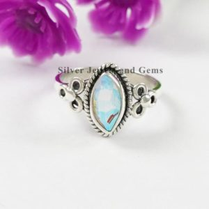 Shop Angel Aura Quartz Rings! Angel Aura Quartz Ring-Handmade Ring-925 Sterling Silver Ring-Marquise Aura Quartz Ring-Gift for her-Promise Ring-Light Weight Ring   Natural genuine Angel Aura Quartz rings, simple unique handcrafted gemstone rings. #rings #jewelry #shopping #gift #handmade #fashion #style #affiliate #ad