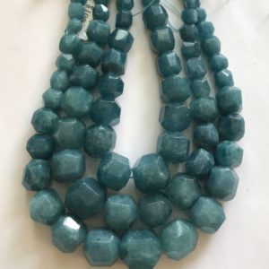 Shop Angelite Beads! Angelite 11mm-18mm Faceted Graduated Round Gemstone Bead -15.5 inch strand | Natural genuine faceted Angelite beads for beading and jewelry making.  #jewelry #beads #beadedjewelry #diyjewelry #jewelrymaking #beadstore #beading #affiliate #ad