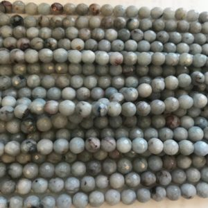 Shop Angelite Beads! Angelite 6mm Faceted Round Gemstone Bead–15.5 inch strand | Natural genuine faceted Angelite beads for beading and jewelry making.  #jewelry #beads #beadedjewelry #diyjewelry #jewelrymaking #beadstore #beading #affiliate #ad