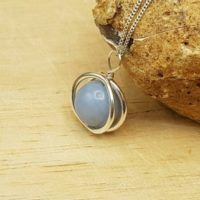 Minimalist Angelite Circle Pendant Necklace. Reiki Jewelry Uk. Sterling Silver Necklaces For Women. | Natural genuine Gemstone jewelry. Buy crystal jewelry, handmade handcrafted artisan jewelry for women.  Unique handmade gift ideas. #jewelry #beadedjewelry #beadedjewelry #gift #shopping #handmadejewelry #fashion #style #product #jewelry #affiliate #ad