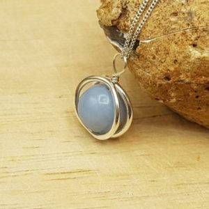 Shop Angelite Pendants! Minimalist Angelite circle pendant necklace. Reiki jewelry uk. Sterling silver necklaces for women. | Natural genuine Angelite pendants. Buy crystal jewelry, handmade handcrafted artisan jewelry for women.  Unique handmade gift ideas. #jewelry #beadedpendants #beadedjewelry #gift #shopping #handmadejewelry #fashion #style #product #pendants #affiliate #ad