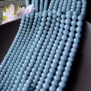 Shop Angelite Beads! Blue Angelite Beads, Natural Gemstone Beads, Round Stone Beads 4mm 6mm 8mm 10mm 12mm 15'' | Natural genuine round Angelite beads for beading and jewelry making.  #jewelry #beads #beadedjewelry #diyjewelry #jewelrymaking #beadstore #beading #affiliate #ad