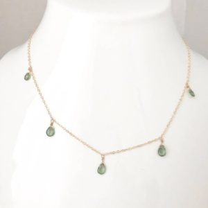 Shop Apatite Necklaces! Green Apatite Necklace Apatite Necklace,  Briolette Necklace, April Birthstone, Layering Necklace Charm Necklace Minimalist Necklace | Natural genuine Apatite necklaces. Buy crystal jewelry, handmade handcrafted artisan jewelry for women.  Unique handmade gift ideas. #jewelry #beadednecklaces #beadedjewelry #gift #shopping #handmadejewelry #fashion #style #product #necklaces #affiliate #ad