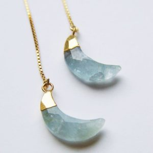 Shop Aquamarine Jewelry! Crescent Moon Earrings, Aquamarine Gold Earrings | Natural genuine Aquamarine jewelry. Buy crystal jewelry, handmade handcrafted artisan jewelry for women.  Unique handmade gift ideas. #jewelry #beadedjewelry #beadedjewelry #gift #shopping #handmadejewelry #fashion #style #product #jewelry #affiliate #ad