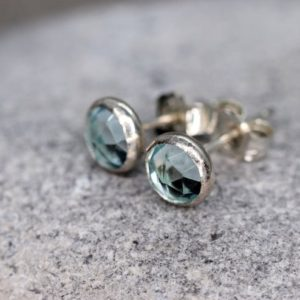 Aquamarine Stud Earrings, March Birthstone Gift, Rose Cut Faceted Aquamarine Stone, Sterling Silver Ear Studs, Light Blue Stone Earrings | Natural genuine Array jewelry. Buy crystal jewelry, handmade handcrafted artisan jewelry for women.  Unique handmade gift ideas. #jewelry #beadedjewelry #beadedjewelry #gift #shopping #handmadejewelry #fashion #style #product #jewelry #affiliate #ad