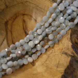 Shop Aquamarine Faceted Beads! Aquamarine Beads Natural Faceted Coin-7x4mm -15.5 inch strand- | Natural genuine faceted Aquamarine beads for beading and jewelry making.  #jewelry #beads #beadedjewelry #diyjewelry #jewelrymaking #beadstore #beading #affiliate #ad