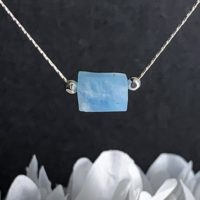 Aquamarine Barrel Delicate Necklace, Thin Silver Necklace, Gemstone Choker, Minimalist Jewelry | Natural genuine Gemstone jewelry. Buy crystal jewelry, handmade handcrafted artisan jewelry for women.  Unique handmade gift ideas. #jewelry #beadedjewelry #beadedjewelry #gift #shopping #handmadejewelry #fashion #style #product #jewelry #affiliate #ad