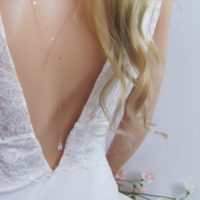 Rose Gold Backdrop Necklace With Aquamarine Gemstones, Dainty Lariat For Open Back Wedding Dress | Natural genuine Gemstone jewelry. Buy handcrafted artisan wedding jewelry.  Unique handmade bridal jewelry gift ideas. #jewelry #beadedjewelry #gift #crystaljewelry #shopping #handmadejewelry #wedding #bridal #jewelry #affiliate #ad