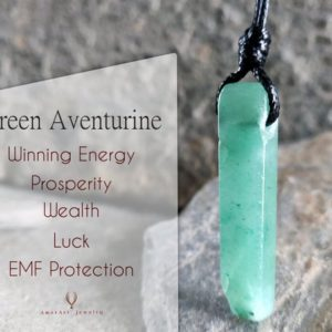 Green Aventurine Pendant, EMF Protection Necklace, Spiritual Jewelry, Good Luck Gift for Him | Natural genuine Array jewelry. Buy crystal jewelry, handmade handcrafted artisan jewelry for women.  Unique handmade gift ideas. #jewelry #beadedjewelry #beadedjewelry #gift #shopping #handmadejewelry #fashion #style #product #jewelry #affiliate #ad