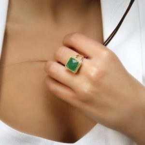 Shop Aventurine Rings! Green Aventurine Ring · Gold Gemstone Ring · Square Ring For Women · Gifts For Her Ring · Vintage Green Ring · Healing Ring | Natural genuine Aventurine rings, simple unique handcrafted gemstone rings. #rings #jewelry #shopping #gift #handmade #fashion #style #affiliate #ad