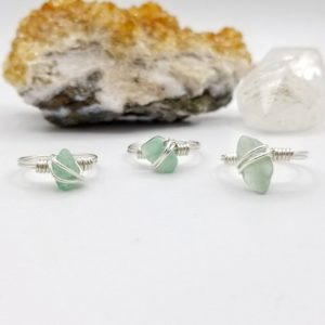 Shop Aventurine Rings! Green Aventurine Ring, Silver Wire Wrapped Ring | Natural genuine Aventurine rings, simple unique handcrafted gemstone rings. #rings #jewelry #shopping #gift #handmade #fashion #style #affiliate #ad