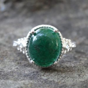 Shop Aventurine Rings! Green Aventurine Sterling Silver Ring Size 7, 925 Silver Green Aventurine Statement Oval Ring Size 7, Aventurine Solitaire Ring, Green Stone | Natural genuine Aventurine rings, simple unique handcrafted gemstone rings. #rings #jewelry #shopping #gift #handmade #fashion #style #affiliate #ad