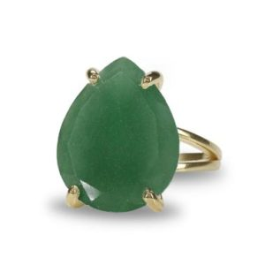 Shop Aventurine Rings! Pear Aventurine Ring · Gold Cocktail Ring · Gold Teardrop Ring · Raw Aventurine Ring · Proposal Ring · Semi Precious Ring | Natural genuine Aventurine rings, simple unique handcrafted gemstone rings. #rings #jewelry #shopping #gift #handmade #fashion #style #affiliate #ad