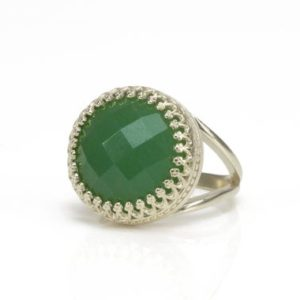 Shop Aventurine Rings! Silver Aventurine Ring · 925 Silver Ring · Statement Vintage Ring · Victorian Ring · Round Gemstone Ring · Green Ring · Custom Rings | Natural genuine Aventurine rings, simple unique handcrafted gemstone rings. #rings #jewelry #shopping #gift #handmade #fashion #style #affiliate #ad